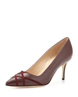 Terla Crisscross Patent Point-Toe Pump, Bordeaux
