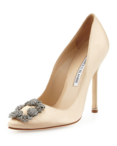 Hangisi Satin Crystal-Toe Pump, Champagne