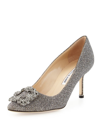 Hangisi Metallic Crystal-Toe Pump, Platinum