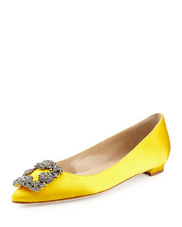 Hangisi Crystal-Buckle Satin Flat, Yellow