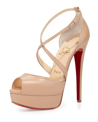 Cross Me Platform Red Sole Sandal, Nude