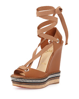 Tribuli Curb-Chain Lace-Up Red Sole Wedge Sandal