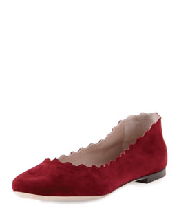 Scalloped Suede Ballerina Flat, Rubis Red