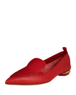Pebbled Leather Point-Toe Loafer, Raspberry