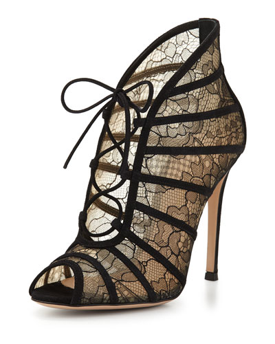 Chantilly Lace Open-Toe Bootie, Black/Nude