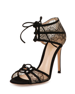 Floral Lace Lace-Up Sandal