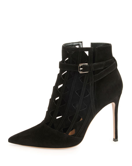 Pointy-Toe Pyramid-Cut Bootie