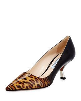Leopard Ombre Kitten-Heel Pump, Honey (Miele)
