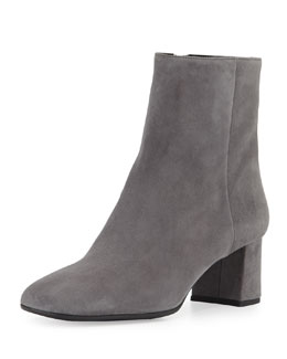Suede Square-Toe Ankle Boot