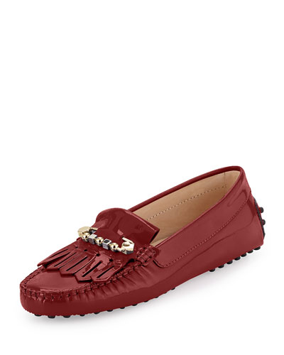 Gommini Fringe Patent Leather Loafer, Cherry