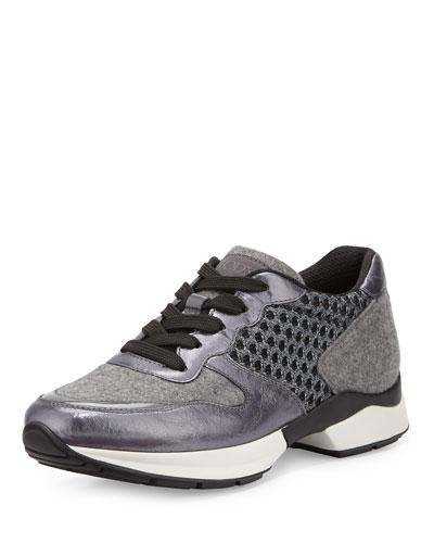 Wool & Mesh Lace-Up Sneaker