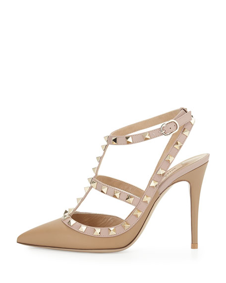 Rockstud Leather T-Strap Pump