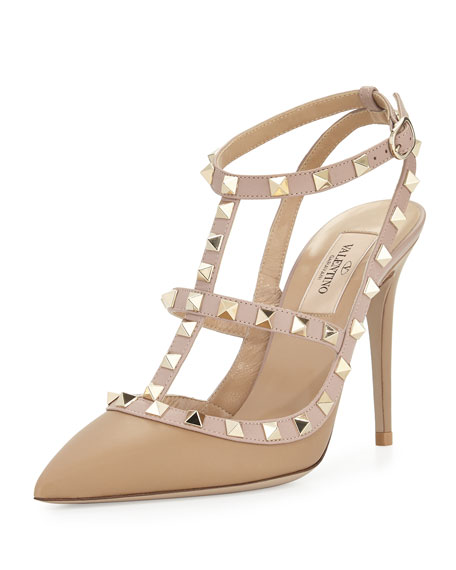 Valentino Rockstud Leather T-Strap Pump, Alpaca