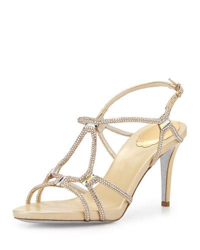 Cyrstal Leather Gladiator Sandal
