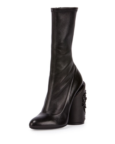 Leather Embroidered-Heel Show Boot, Black
