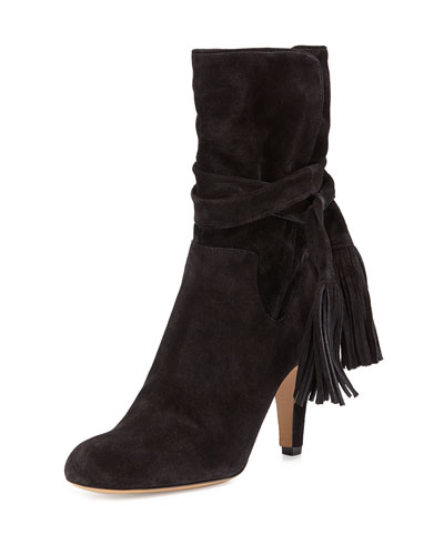 Suede Tie-Top Ankle Boot, Black