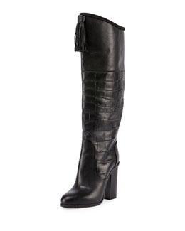 Croc-Embossed Paneled Tassel Knee Boot