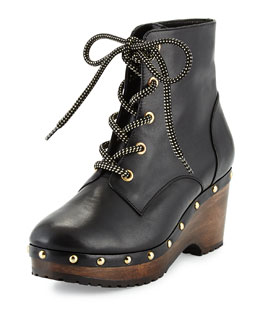 Joelle Studded Lace-Up Leather Bootie