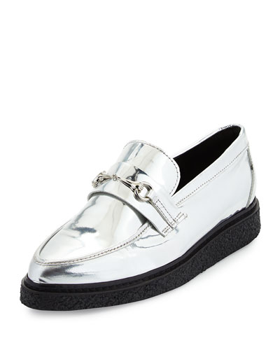 Sloan Metallic Horsebit Creeper Loafer, Silver
