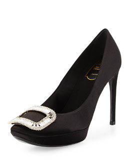 Limelight Satin Crystal-Buckle Pump