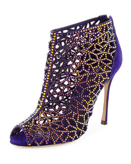 Tresor Laser-Cut Strass Crystal Bootie, Purple