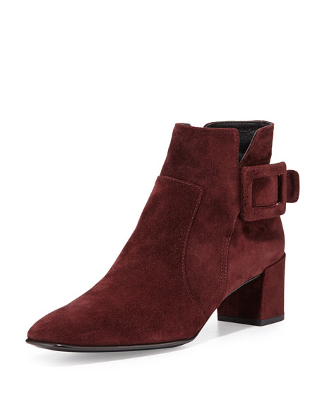 Roger Vivier Polly Suede Side-Buckle Ankle Boot, Burgundy
