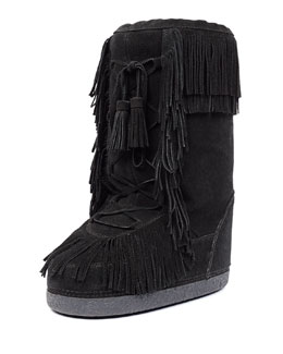 Boho Karlie Fur-Lined Suede Boot, Black