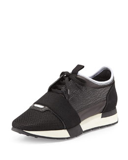 Mesh & Leather Lace-Up Sneaker