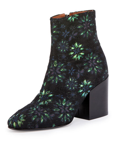 Jacquard Ankle Bootie, Navy/Green