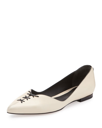 Martini Lace-Up Point-Toe Ballet Flat