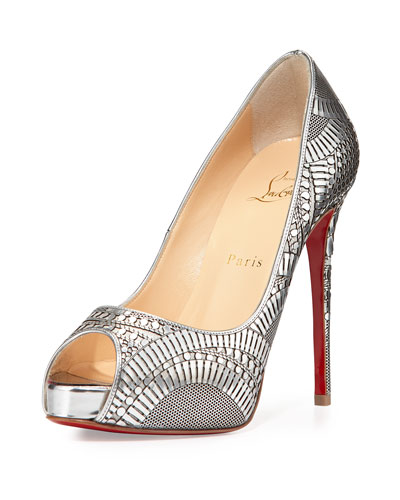 Suellena Laser-Cut Red Sole Pump, Silver