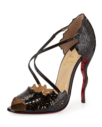 Enchantee Laser-Cut Red Sole Pump, Black