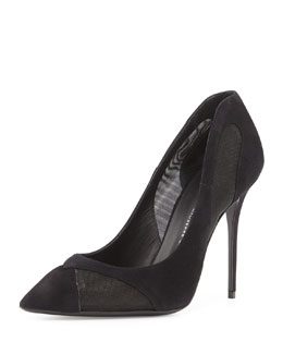 Mesh-Inset Suede Point-Toe Pump