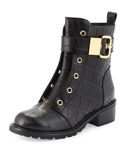 Croc-Stamped Buckled Mid-Calf Boot