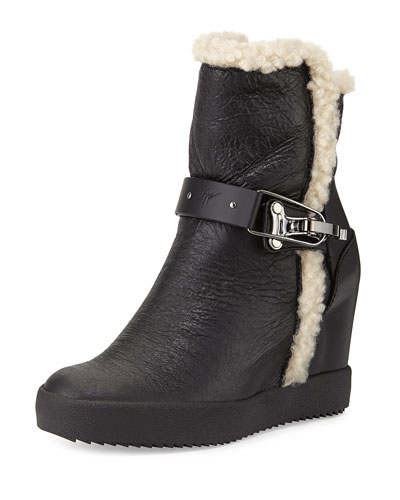 Shearling & Leather Wedge Bootie