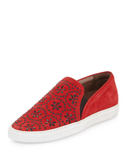 Huntington Floral-Beaded Suede Skate Shoe