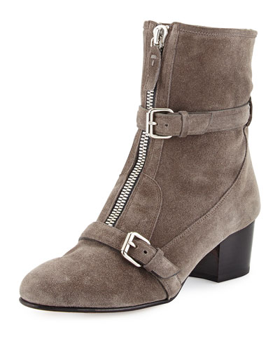 Stirling Shearling Fur-Lined Suede Zip Ankle Boot