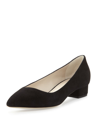 Asymmetric Point-Toe Suede Low-Heel Pump