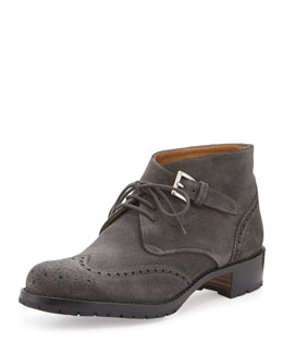 Eyelet Wing-Tip Suede Ankle Boot