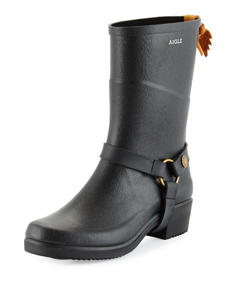 Aigle Miss Julie Harness-Detailed Mid-Calf Rainboot