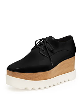 Faux-Leather Platform Oxford, Black