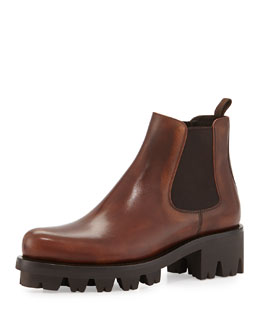 Leather Chelsea Ankle Boot, Teak