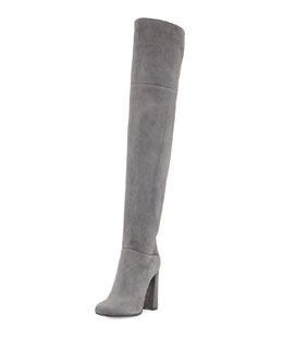 Suede Split-Collar Over-The-Knee Boot
