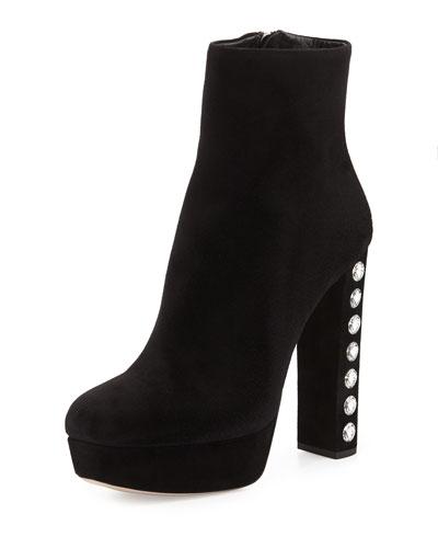 Crystal-Heel Suede Platform Ankle Boot