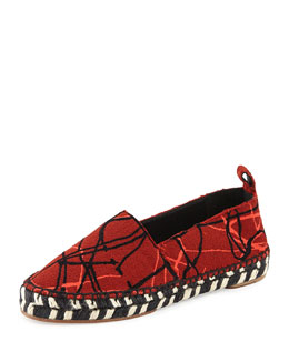 Abstract-Print Crepe Espadrille