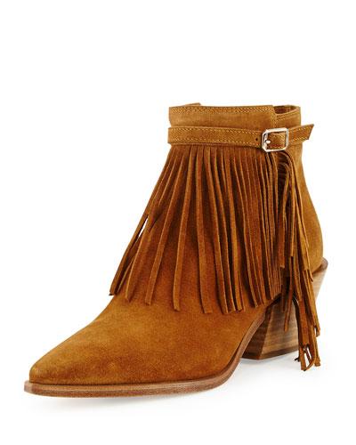 Lena Fringe Suede Ankle Boot