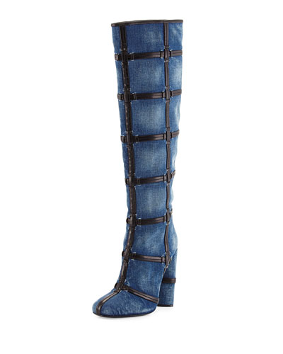 Woven Leather-Trimmed Denim Knee Boot