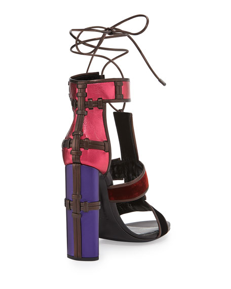 6060509aee34 TOM FORD Multicolor Patchwork Leather   Velvet Sandal