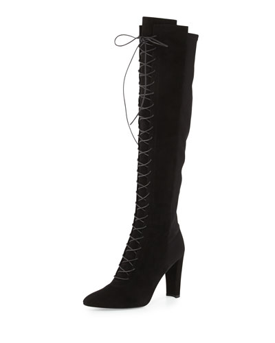 Highstrung Lace-Up Knee Boot, Black
