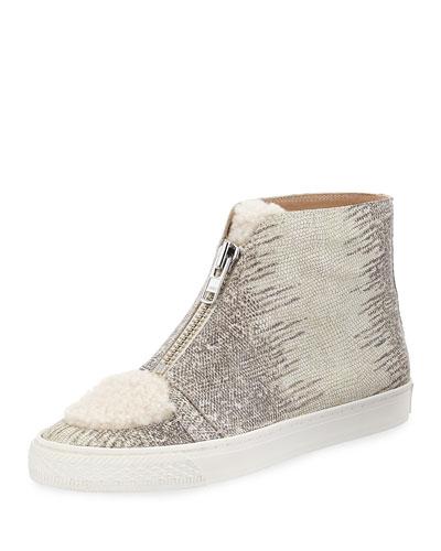 Devin Lizard-Embossed High-Top Sneaker w/ Shearling Trim